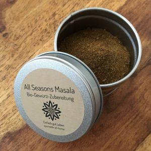 All Seasons Masala Bio-Gewürz-Zubereitung schmeckt köstlich in allen Gemüse- und Nudelgerichten.