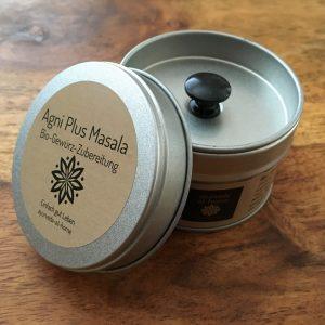 Gewürzdose mit Aromaverschluß Agni Plus Masala Bio-Gewürz-Zubereitung im Shop für Ayurvedagewürze von Ines Steindl