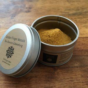 Gewürzdose mit Aromaverschluß Golden Finger Masala Bio-Gewürz-Zubereitung